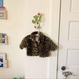 Leopard print faux fur baby jacket
